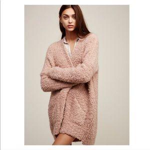 free people dusty rose oversized fluffy sweater